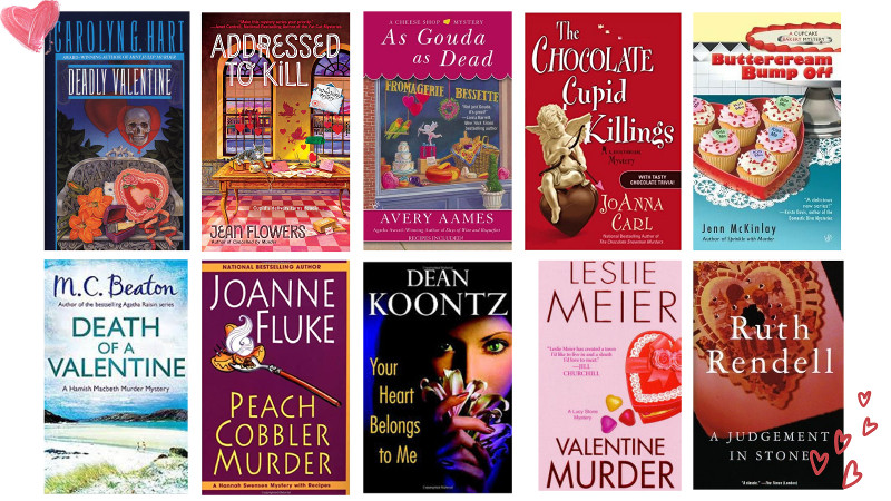 Covers of 10 Valentine's Day themed mysteries